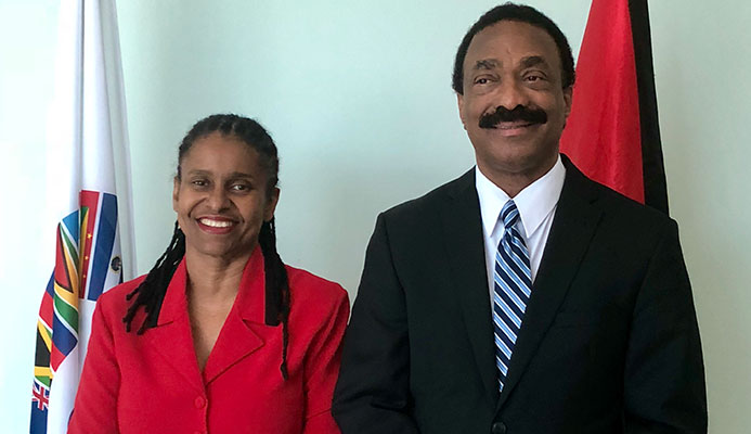 [Left to Right]  Executive Director Ms. Dawne Spicer and CFATF Chair (2017-2018) Hon. Basil Williams, SC, MP, Attorney General and Minister of Legal Affairs of Guyana.