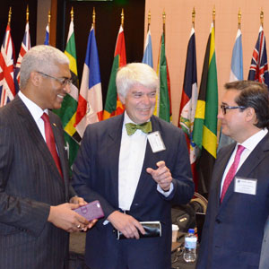 Hon. Garvin Nicholas, Attorney General Trinidad and Tobago and CFATF Deputy Chair, Mr. Roger Wilkins AO, FATF President and Hon. Luis Martínez, Attorney General El Salvador and CFATF Chair